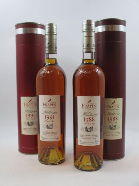 2 bouteilles 1 bt : COGNAC FRAPIN 1991 Trésor du Château Fontpinot. Grande Champagne 1er cru de Cognac. 20 ans d'age (70 cl, 41,2°)