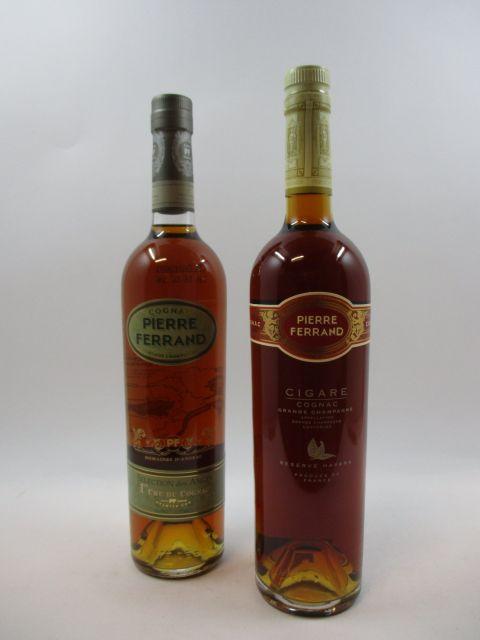 2 bouteilles 1 bt : COGNAC PIERRE FERRAND Grande Champagne 1er cru du Cognac. Selection des Anges (70 cl, 40°)