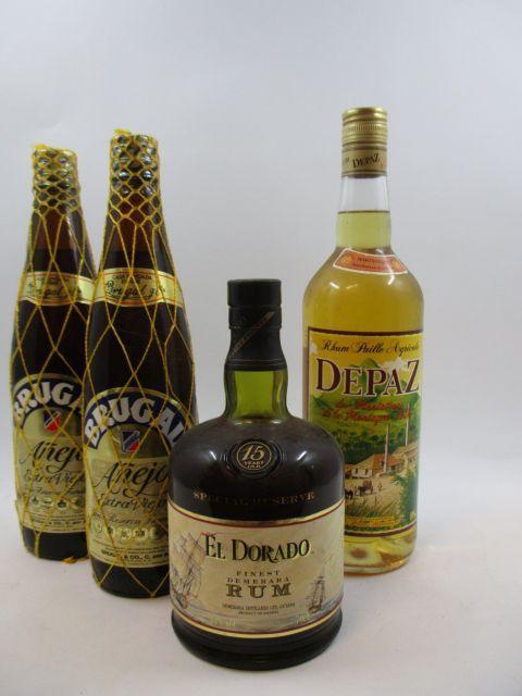 4 bouteilles 1 bt : RHUM EL DORADO 15 years Old. Special Reserve. Finest Demerara Rum. Guyane (70 cl, 43°)