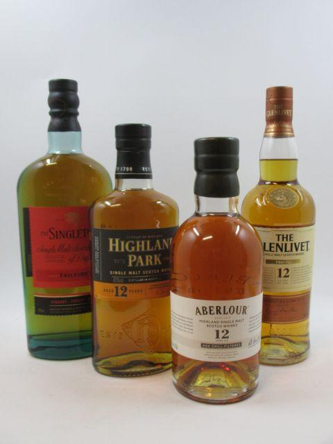 4 bouteilles 1 bt : WHISKY ABERLOUR 12 years old. Non Chill-Filtered. Highland Single Malt Scotch Whisky (70 cl, 48°)