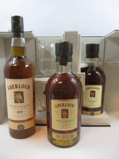 3 bouteilles 1 bt : WHISKY ABERLOUR 10 years old. Pure Single Highland Malt Scotch Whisky (70 cl, 43°)