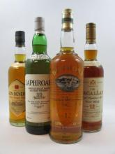 4 bouteilles 1 bt : WHISKY BOWMORE 12 years old. Single Malt Scotch Whisky (1 litre, 43°)
