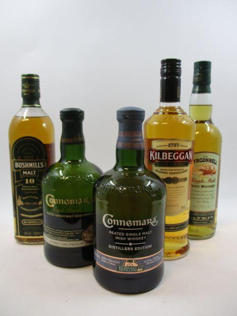 5 bouteilles 1 bt : WHISKY BUSHMILLS 10 years Old. Single Malt Irish Whiskey. Matured in two woods (70 cl, 40°)