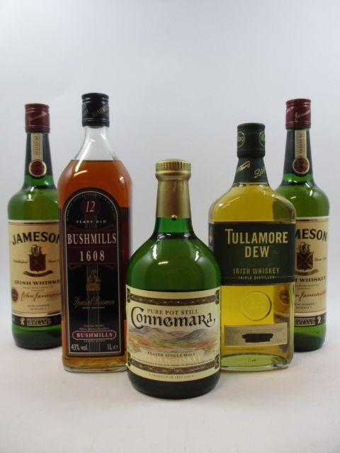 5 bouteilles 1 bt : WHISKY CONNNEMARA Pure Pot Still Peated Single Malt. Irish Whiskey (70 cl, 40°)
