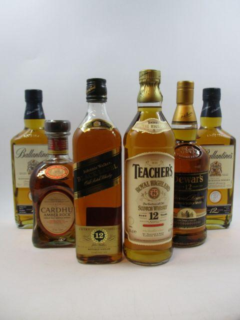 6 bouteilles 1 bt : WHISKY DEWAR'S 12 years old. Special Reserve. Blended Scotch Whisky (70 cl, 43°)