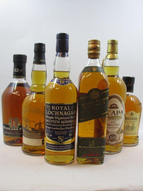 6 bouteilles 1 bt : WHISKY HIGHLAND PARK 12 years old. Single Malt Scotch Whisky Orkney Islands (1 litrel, 43°)