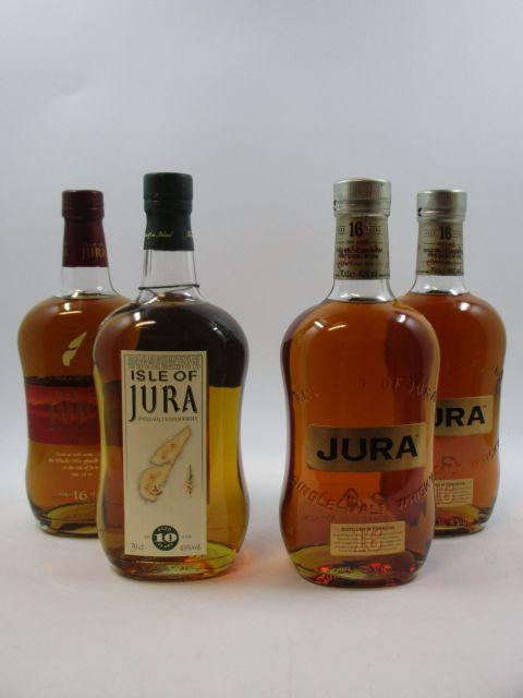 4 bouteilles 1 bt : WHISKY ISLE OF JURA 10 years old. Single Malt Scotch Whisky (70 cl, 43°)