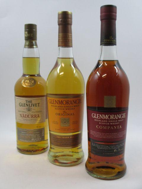 3 bouteilles 1 bt : WHISKY THE GLENLIVET 1991 Nadurra, non Chill-Filtered. (bottled 03/10) Single Malt Scotch Whisky (70 cl, 48°)