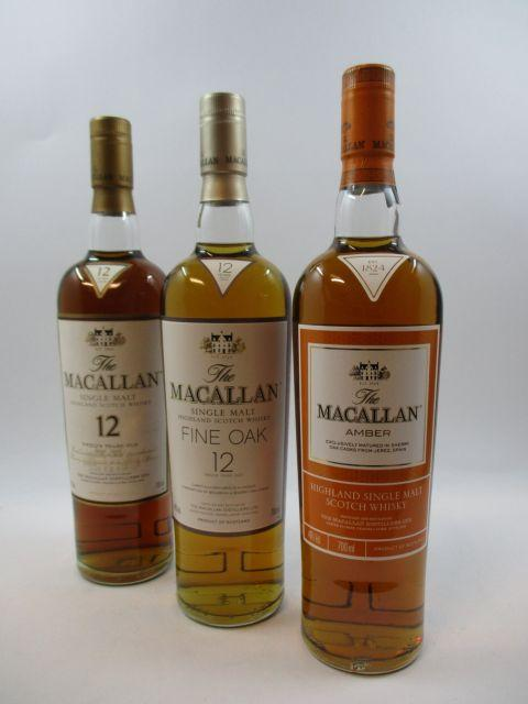 3 bouteilles 1 bt : WHISKY THE MACALLAN 12 years Old. Matured in selected Sherry Oak Casks. Single Malt Highland Scotch Whisky (70 cl,