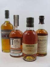 4 bouteilles 1 bt : WHISKY TORMORE 16 years Old. Speyside Single Malt Scotch Whisky. American Oak (bottled 2013, 70cl, 48°)