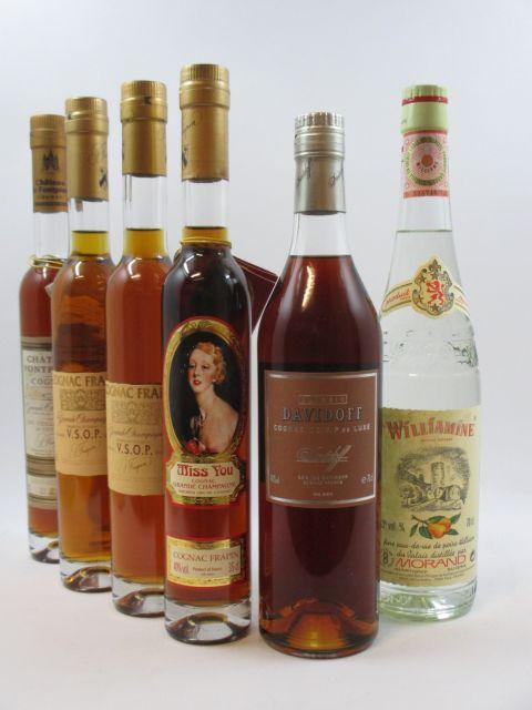 5 flacons 1 demi : COGNAC FRAPIN Château Fontpinot. Grande Champagne 1er cru de Cognac. Très Vieille Réserve du Château (35 cl, 41°)