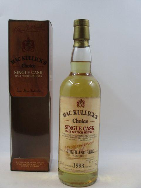 1 bouteille WHISKY HIGHLAND PARK MC KULLICK'S CHOICE 1993  Orkney Single Cask Scotch Whisky