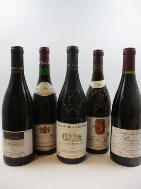 12 bouteilles 1 bt : CAIRANNES - COTES DU RHONE VILLAGE 1999 L'Ebrescade. Domaine Richaud (étiquettes sales)