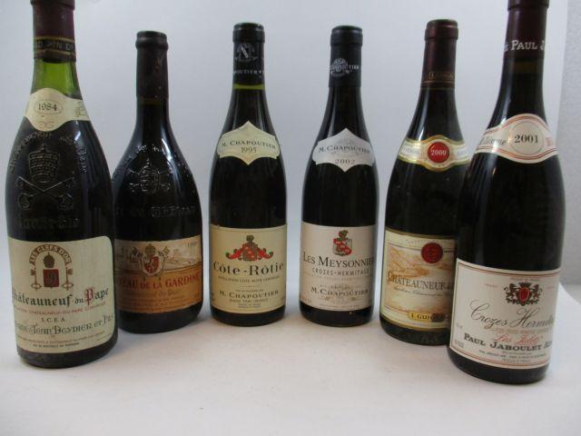 12 bouteilles 1 bt : CROZES HERMITAGE 2001 Les Jalets. Jaboulet (étiquette fanée)