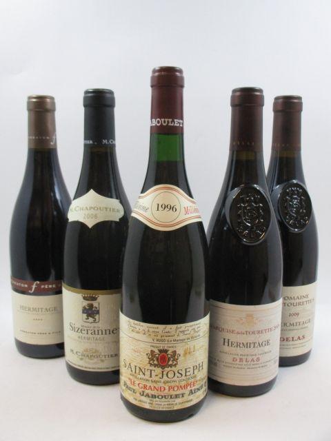5 bouteilles 1 bt : HERMITAGE 2005 Les Miaux. Ferraton Père & Fils 1 bt : HERMITAGE 2006 Monier de la Sizeranne. M.Chapoutier 1...