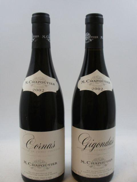 12 bouteilles 6 bts : CORNAS 2002 Chapoutier (étiquettes léger abimées)