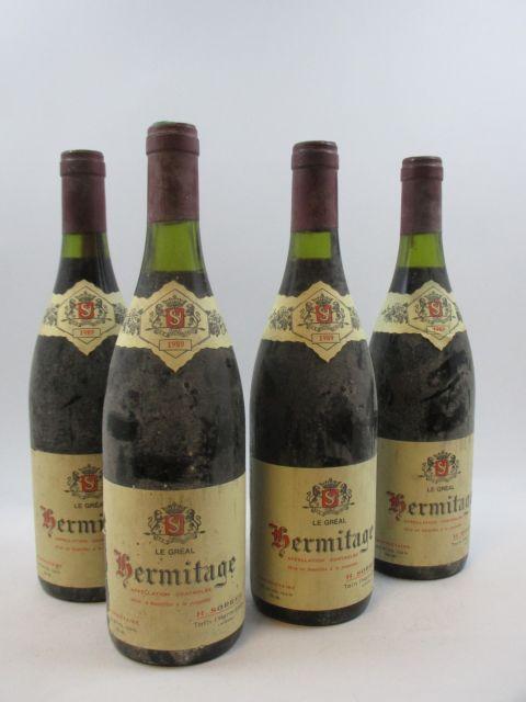 4 bouteilles HERMITAGE 1989 Le Gréal