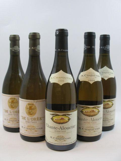5 bouteilles 2 bts : ERMITAGE 2002 De l'Orée. M. Chapoutier