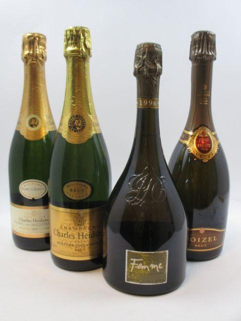 4 bouteilles 1 bt : CHAMPAGNE CHARLES HEIDSIECK 1995 Etui d'origine