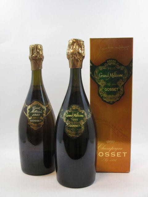 2 bouteilles 1 bt : CHAMPAGNE GOSSET 1985 Grand Millésime