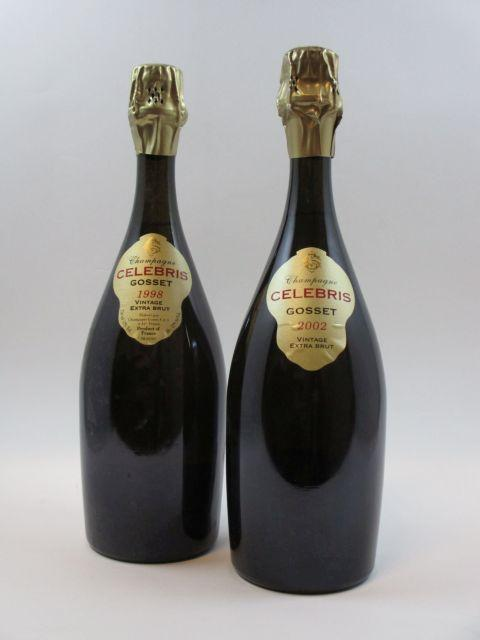 2 bouteilles 1 bt : CHAMPAGNE GOSSET 1998 Cuvée Celebris Extra Brut