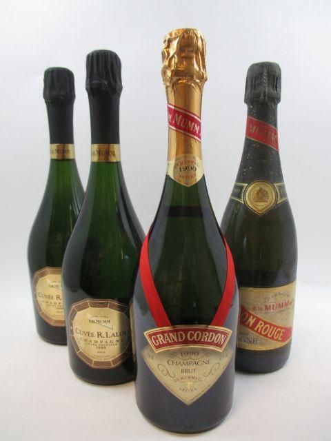 4 bouteilles 1 bt : CHAMPAGNE MUMM 1989 Cordon Rouge