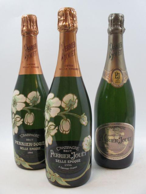 3 bouteilles 1 bt : CHAMPAGNE PERRIER JOUET Blason de France