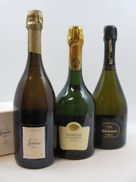 3 bouteilles 1 bt : CHAMPAGNE POMMERY 1995 Cuvée Louise
