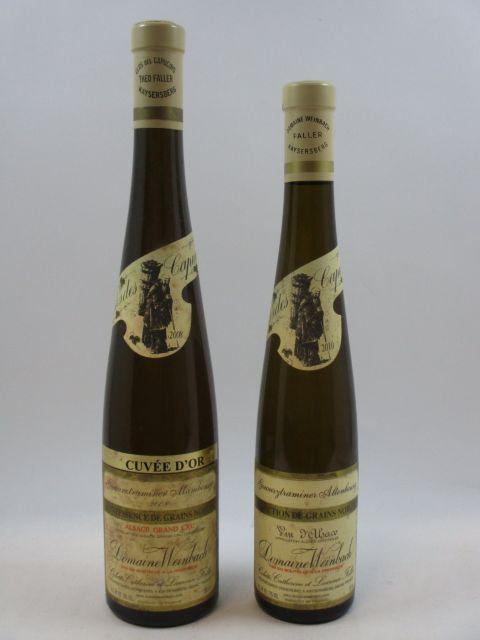 2 bouteilles 1 demi bt : ALSACE GEWURZTRAMINER 2010 SGN Altenbourg. Domaine Weinbach (étiquette fanée) 1 bt : ALSACE GEWURZTRAMI...