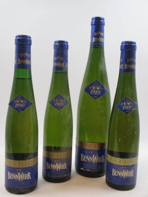 7 flacons 1 demi-bt : ALSACE TOKAY PINOT GRIS 1990 VT. Bennwihr. Caves de Bennwihr (étiquette abimée, capsule usée)