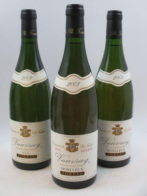9 bouteilles 2 bts : VOUVRAY 2003 (moelleux) Réserve. Domaine du Clos Naudin. Foreau