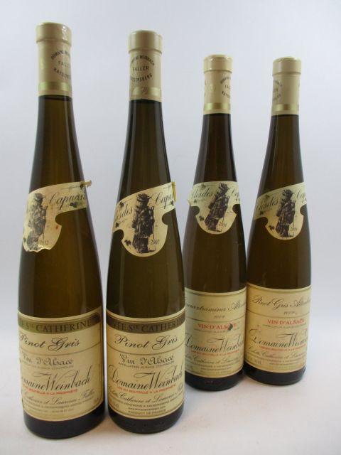 4 bouteilles  2 bts : ALSACE PINOT GRIS 2009 Altenbourg. Domaine Weinbach(étiquette abimée)  1 bt : ASACE PINOT GRIS 2007 Cuvée Sa...