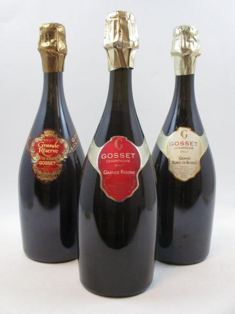 7 bouteilles 2 bts : CHAMPAGNE GOSSET Grand Blanc de Blancs Brut