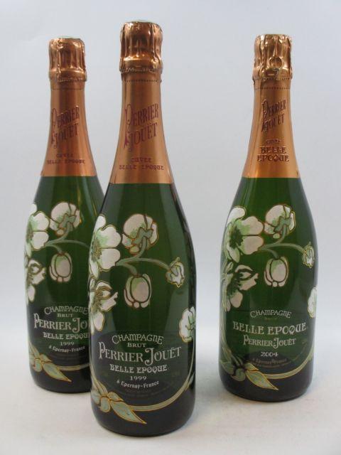 3 bouteilles 2 bts : CHAMPAGNE PERRIER JOUET 1999 Cuvée Belle Epoque