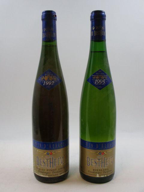 11 bouteilles 7 bts : ALSACE RIESLING 1995 VT Bestheim. Caves de Bestheim (étiquettes abimées)