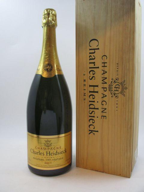 1 magnum CHAMPAGNE CHARLES HEIDSIECK 1989 Caisse bois d'origine (cave 12)