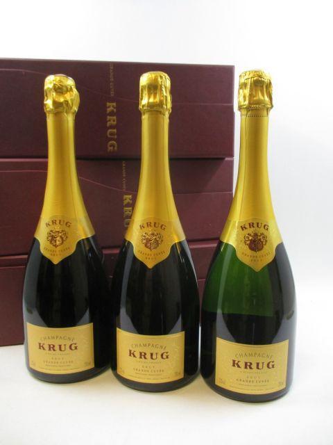 6 bouteilles CHAMPAGNE KRUG Grande Cuvée Etuis individuels d'origine (cave 12)