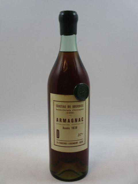 1 bouteille  ARMAGNAC CHÂTEAU DU BOURDIEU 1830 Sainte-Christie d'Armagnac. Gers. Ets Esquerre & Bounoure - Auch (37°, 75 cl) (millés..