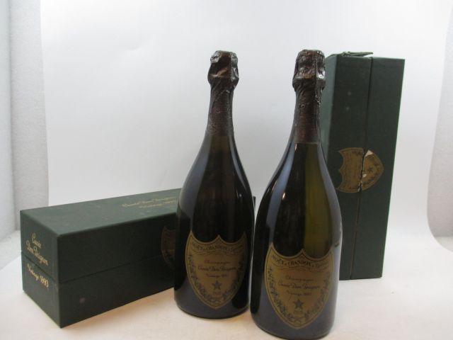 2 bouteilles CHAMPAGNE DOM PERIGNON 1993 (étiquettes et coffrets abimés) (cave 3)