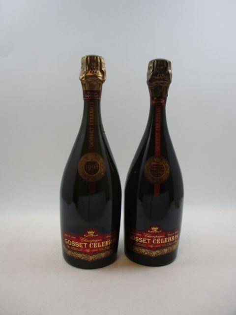 2 bouteilles: 1bt : CHAMPAGNE GOSSET 1995 Cuvée Celebris. Extra Brut Etui d'origine 1 bt : CHAMPAGNE GOSSET 1998 Cuvée Celebris Ex...