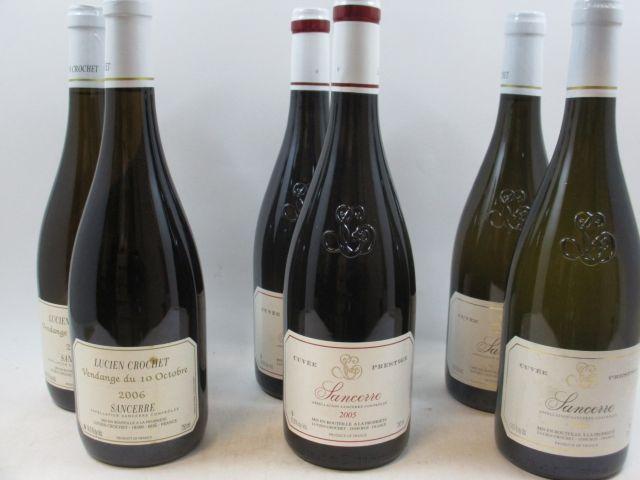 6 bouteilles : 2 bts: SANCERRE 2006 Vendange du 10 Octobre. Lucien Crochet  2 bts : SANCERRE 2005 (blanc) Lucien Crochet  2 bts...