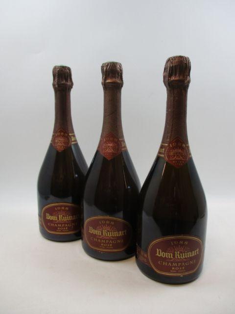 3 bouteilles  CHAMPAGNE DOM RUINART 1988 Rosé  (1 étiquette légèrement déchirée)  (cave 12)