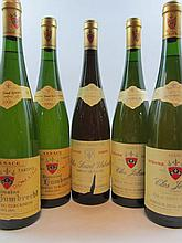 5 bouteilles 2 bts : ALSACE RIESLING 1990 VT Herrenweg Turckheim. Domaine Zind Umbrecht (étiquettes recollées)