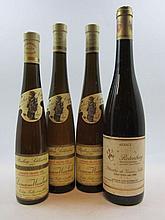 4 flacons 2 bts : ALSACE RIESLING 1997 SGN Schlossberg. Domaine Weinbach Colette Faller et ses filles (500 ml, étiquettes tachées)