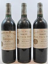 3 bouteilles  2 bts :  BANYULS  1988 Rimage. Domaine du Mas Blanc 2 bts :  BANYULS  1989 Rimage. Domaine du Mas Blanc