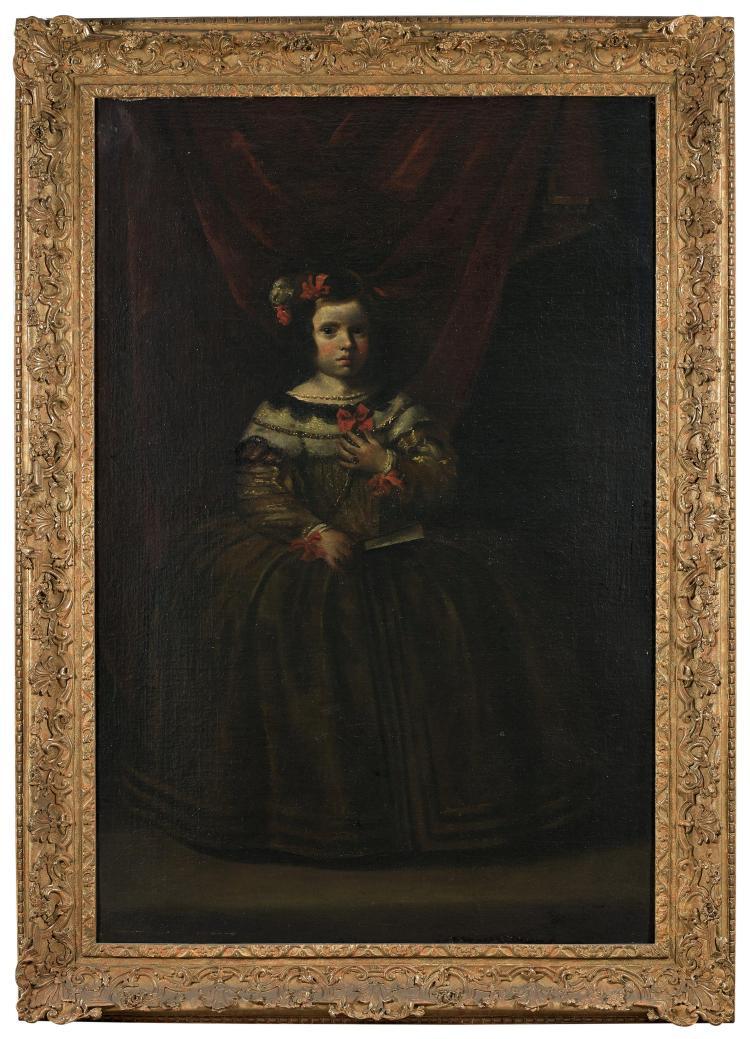 Attribué à Juan Battista Martinez del Mazo Vers 1605 - Madrid, 1667 Portrait d'une infante Huile sur toile