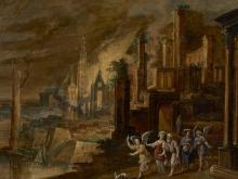 Attribué à Daniel van Heil Bruxelles, 1604 -1662 Loth et ses filles fuyant Sodome Huile sur cuivre doublé sur panneau parqueté