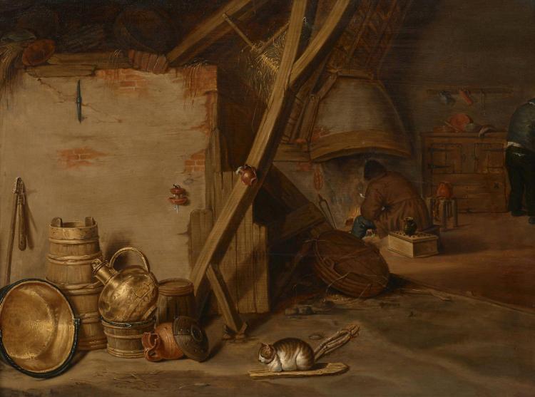 frans ryckhals middelbourg 1609 1647 intrieur rustique aux cuivres huile sur panneau de chne