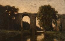 Attribué à Jean-Achille Benouville Paris, 1815 - 1891 Vue de l'aqueduc de Maintenon Huile sur panneau,