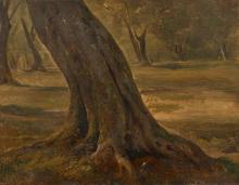 André Giroux Paris, 1801 - 1879 Sous-bois à Tivoli Huile sur papier marouflé sur toile,